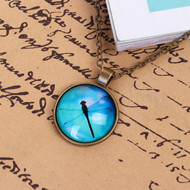 """resell for 12.00 or more Glass Necklace Antique Bronze Green Blue Dragonfly Animal Round 48cm(18 7/8"""") long Style #DFN062118"""
