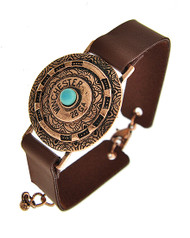 "resell for 18.00 or more Copper Tone / Brown Leatherette / Turquoise Stone / Lead Compliant / Metal / Lobster-claw / Western Theme / Band / Bracelet / •   LENGTH : 7"" + EXT •   WIDTH : 5/8"" •   TOP FACE : 1 3/8"" DIA	 •   COPPER/BROWN  Style #BCBB062518"