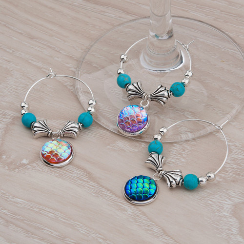 """resell for 12.00 or more Resin Mermaid Fish/ Dragon Scale Wine Glass Charms Fan-shaped Round Silver Plated Multicolor 52mm(2"""") x 32mm(1 2/8"""") Style #MWH062818"""