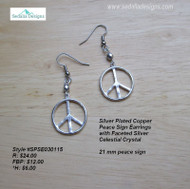 Silver plated Copper Peace Sign Earrings with faceted silver Celestial Crystal
