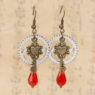 "resell for 12.00 or more Steampunk Earrings Antique Bronze Gear Key Red Glass 58mm(2 2/8"") x 23mm( 7/8"") Style #RCSPE062818"