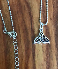 """Resell for 9.00 or more Pewter Celtic whale tail 5/8 x 5/8"""" 20 inch silver tone ball chain plus ext Style #WTN062918"""