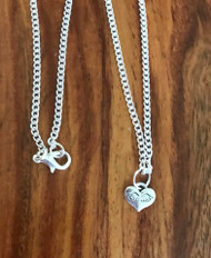 Resell for 12.00 or more 16 inch silver tone chain Tiny pewter heart w wings Style #TWHN070518