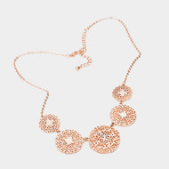 "resell for 45.00 or more • Color : Worn Rose Gold • Theme : Filigree  • Necklace Size : 17"" + 3"" L • Decor Size : 1"" L • Material : Lead and nickel compliant • Filigree Metal Disc Link Bib Necklace. Style #RGFN070618"