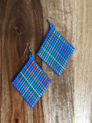 "Resell for 9.00 or more Wood with string boho earrings  2 3/8 x 4"" Blue  with bright string Style #BLUBWE00618"