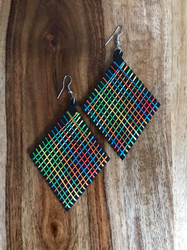 "Resell for 9.00 or more Wood with string boho earrings  2 3/8 x 4"" Black with bright string Style #BLAWBE070618"