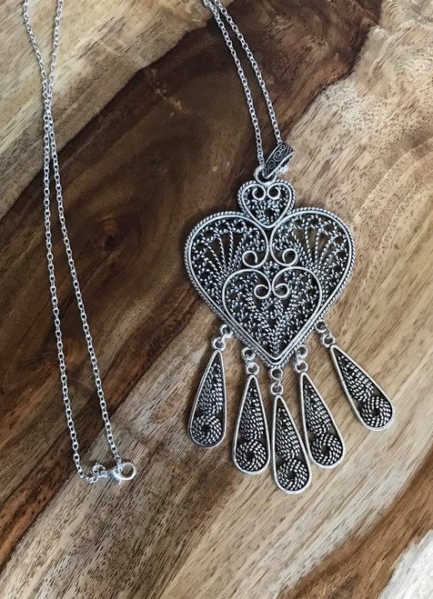 """Resell for 21.00 or more 30 inch silver tone chain Pewter boho heart pendant 5 1/8 x 2 3/8"""" Style #BHPN070918"""
