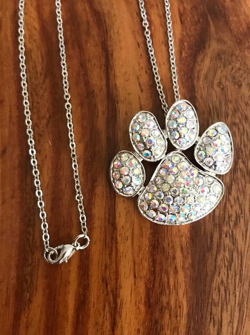 """Resell for 18.00 or more 18"""" silver tone chain Silver tone with aurora borealis crystal pet paw 1.5 x 1.25"""" Style #ABCPPN071018"""