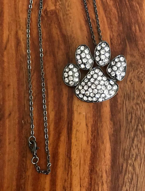 """Resell for 18.00 or more 18"""" gunmetal chain  Gunmetal pet paw w crystal 1.5 x 1.25"""" Style #GMCCN071018"""