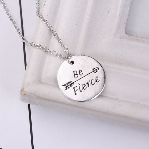 """resell for 12.00 or more Antique Silver Silver Tone Round Arrow Message """" Be Fierce """" 46cm(18 1/8"""") long Style #BFN071018"""