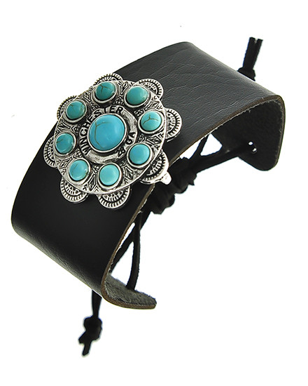 "resell for 18.00 or more Burnished Silver Tone / Black Leatherette / Turquoise Stone / Lead Compliant / Adjustable / Bracelet /  •   SIZE FREE : ADJUSTABLE •   LENGTH : MAX: 10 1/2"" •   WIDTH : 1 1/2"" •   TOP FACE : 1 5/8"" DIA	 •   SILVER/BLACK  Style #BLTB071118"