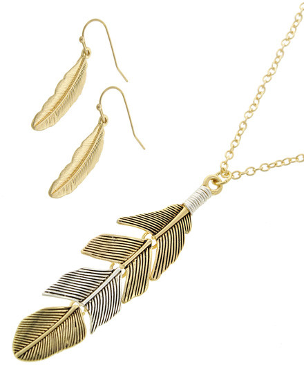 """resell for 36.00 or more Gold Tone & Antique Gold Tone W/silver Tone / Lead&nickel Compliant / Metal / Fish Hook (earrings) / Pendant / Feather / Necklace & Earring Set  •   LENGTH : 23 1/2"""" + EXT •   PENDANT : 3/4"""" X 2 3/4"""" •   EARRING : 3/4"""" X 1 1/2"""" •   GOLD/SILVER  Style #GSFN071118"""