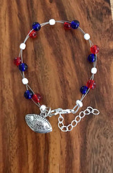 Resell for 18.00 or more 7.5 inch floating bracelet plus set chain I love football charm Team colors New England Patriots red white blue Style #NEPFB071318