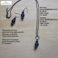 Gunmetal, blue glass & blue pearl earrings; chain & bauble sold separately