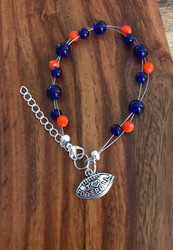 Resell for 18.00 or more 7.5 inch floating bracelet plus set chain I love football charm Team colors Denver Broncos blue orange Style #DBFB071318