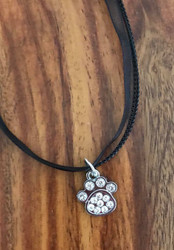 "Resell for 12.00 or more 17"" plus ext chain black organza Pewter pewter paw w crystal pendant 18x 16mm Style #CPPON071318"