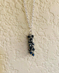 "Resell for 18.00 or more 18 inch silver tone chain  Black crystal pendant  2"" long Style #BCCDN071618"