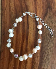 Resell for 15.00 or more 7.5 inch plus ext chain floating bracelet Genuine fresh water pearls w Crystal  Made by Ashley Style #FWPCFB011718