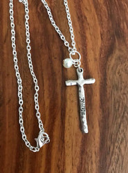 "Resell for 18.00 or more 20"" silver-tone chain Pewter cross w pearl says ""blessed"" Style #BCPN071718"