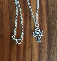 "Resell for 12.00 or more 16"" silver-tone chain Pewter cross Style #CN071718"