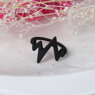 "resell for 9.00 or more not adjustable Ring Black Heartbeat /Electrocardiogram 16.7mm( 5/8"") US size 6.25 Style #BECR072518"