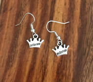Resell for 6.00 or more  Pewter crown says princess  Surgical steel ear wires Style #TPE072518