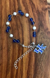 "Resell for 40.00 or more   7.5"" plus ext chain floating bracelet Official Licensed UK charm Made by Ashley  University of Kentucky  football colors  Blue white Style #UKOFB072718"
