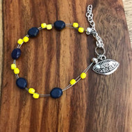 """Resell for 18.00 or more 7.5"""" plus ext chain floating bracelet Pewter I love football charm Made by Ashley  University of Michigan football colors  Blue maize Style #UMFB072718"""