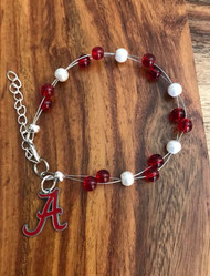 "Resell for 40.00 or more  7.5"" plus ext chain floating bracelet Official licensed A charm  Made by Ashley  University of Alabama football colors  Crimson white Style #UAOLFB072718"