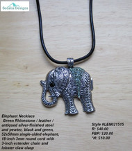 Elephant Necklace, green rhinestone / leather / antiqued silver-finished steel & pewter, black & green, 52x50mm single-sided elephant, 18-inch 3mm round cord w/3-inch extender chain & lobster claw clasp