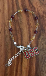 """Resell for 40.00 or more  7.5"""" plus ext chain floating bracelet Official licensed University of Southern California Charm  Made by Ashley Style #USCOB080718"""