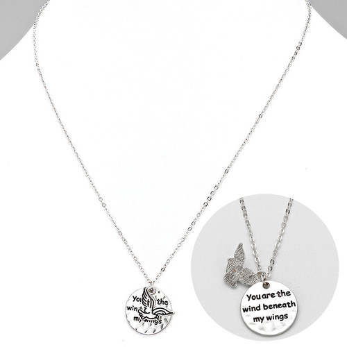 """resell for 33.00 or more • Color : Worn Silver • Theme : Angel & Wings  • Necklace Size : 16"""" + 2"""" L • Pendant Size : 0.75"""" L • """"You are the wind beneath my wings"""" • Wings Pendant Necklace Style #WBWN080818"""