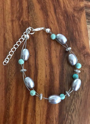Resell for 15.00 or more 7.5 inch plus ext chain  Floating bracelet Made by Ashley  Pewter, grey  glass pearl  turquoise magnesite Style #DTMFB080918
