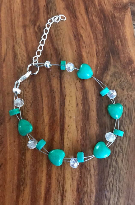 """Resell for 15.00 or more 7.5"""" plus extender  Floating bracelet Green resin hearts, turquoise magnesite heshi w Crystal Style #GHFB080918"""