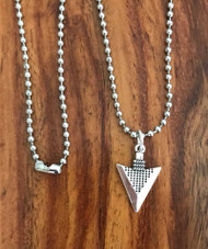 "Resell for 15.00 or more 23"" stainless steel ball chain Unisex necklace  Pewter arrow 7/8 x 5/8"" Style #UAN081018"