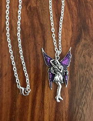 "Resell for 12.00 or more 20"" silver tone chain  Pewter w purple enamel fairy. 1 7/8 x 1 1/8"" Style #PFN081018"