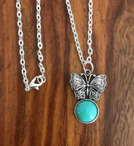 "Resell for 12.00 or more  20 inch silver tone chain  Pewter butterfly w turquoise resin cabochon. 31mm(1 1/4"") x 21mm( 7/8"") Style #TRBN081018"