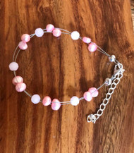 "Resell for 15.00 or more 7.5"" plus ext chain floating bracelet  Pink matte crystal, genuine freshwater pearls pink Made by Ashley Style #PCPFB081418"