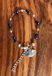 "Resell for 18.00 or more 7.5"" plus ext chain floating bracelet Pewter I love football charm  Baltimore Ravens team colors Made by Ashley Style #BRFB081418"