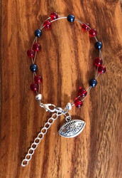 "Resell for 18.00 or more 7.5"" plus ext chain floating bracelet Pewter I love football charm  Houston Texans team colors Made by Ashley Style #HTFB081418"