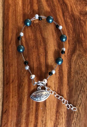 "Resell for 18.00 or more 7.5"" plus ext chain floating bracelet **also at your consultants website Pewter I love football charm  Philadelphia Eagles team colors Made by Ashley Style #PEFB081518"