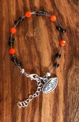 "Resell for 18.00 or more 7.5"" plus ext chain floating bracelet Pewter I love football charm  Cleveland Browns team colors Made by Ashley Style #CBFB081518"
