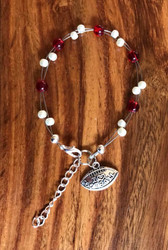 "Resell for 18.00 or more 7.5"" plus ext chain floating bracelet Pewter I love football charm  Oklahoma Sooners team colors Made by Ashley Style #OSFB081518"
