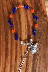 "Resell for 18.00 or more 7.5"" plus ext chain floating bracelet Pewter I love football charm  Clemson team colors Made by Ashley Style #CTFB081518"