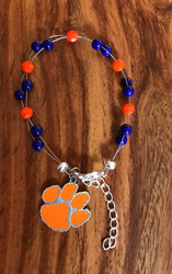 "Resell for 40.00 or more 7.5"" plus ext chain Made by Ashley  Clemson team colors  W official charm Style #CTOLB081518"