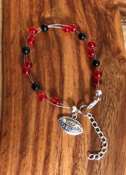 "Resell for 18.00 or more 7.5"" plus ext chain floating bracelet Pewter I love football charm  Made by Ashley  Georgia Bulldog / Texas Tech  team colors Style #RBFTC081518"