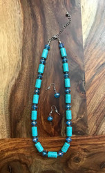 "Resell for 36.00 or more 18"" plus extender chain Turquoise magnesite w blue faceted crystal and pewter discs Style #TMBBCNS081618"