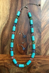"Resell for 36.00 or more 18"" plus extender chain Turquoise magnesite w pink, green and blue faceted crystal and pewter discs Style #TMMCCNS081618"