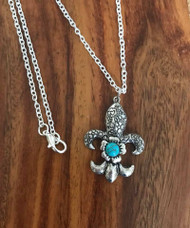 """Resell for 15.00 or more 18"""" silver tone chain  Pewter fleur de lis w turquoise magnesite 1"""" x2"""" Style #FLTMN081717"""