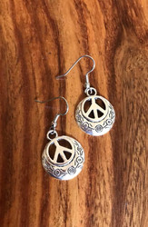 Resell for 9.00 or more Pewter ornate peace sign Surgical steel ear wires Style #OPSE081718